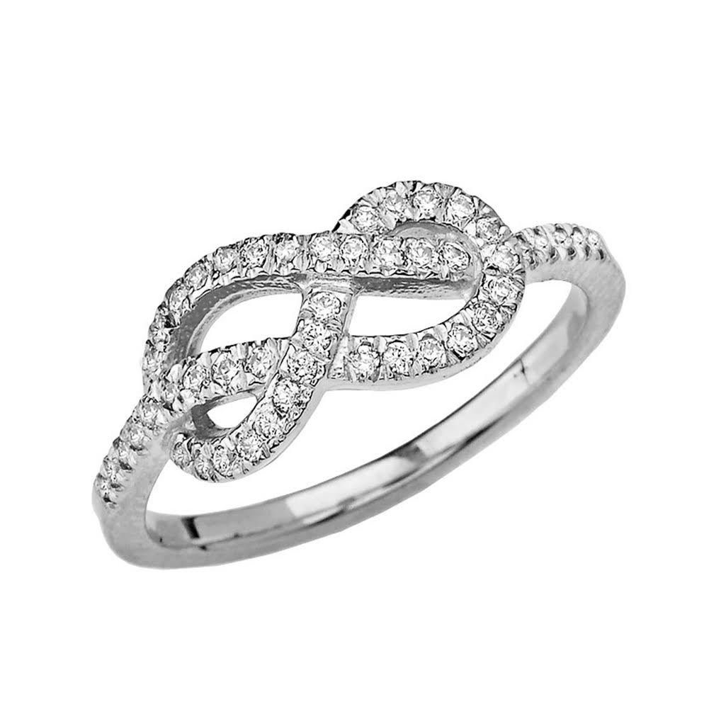 Elegant 14k White Gold Diamond-Studded Infinity Forever Love Knot Promise Ring (Size 7.5)