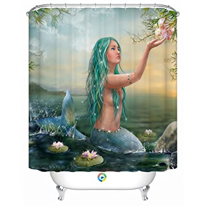 Mermaid LovelyWaterproof Fabric Shower Curtain72 X 72 Inch