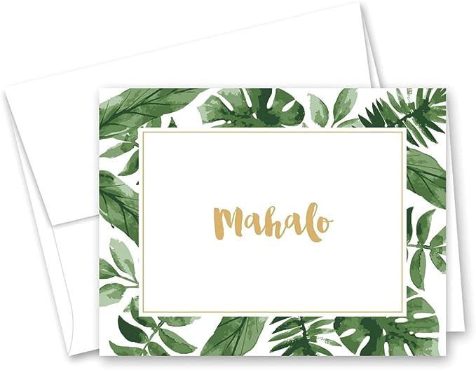 Aloha Greeting Card Thank You Digital Card Mahalo Printable Cards Hawaiian Fruit PDF Pineapple Mahalo Card Download 5x7 card DIY Card