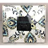 "Cynthia Rowley Easy Care Polyester Duvet Cover Set ""Linden Butter"" Black, Yellow, Blue, Beige Stripes Floral Paisley Medallions (KING)"