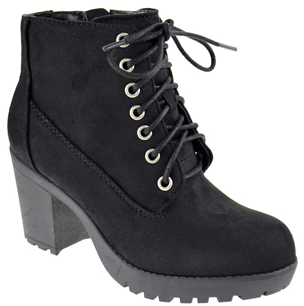 39f746a717c88 SODA Women's Korman Faux Leather Lace Up High Chunky Heel Ankle Booties