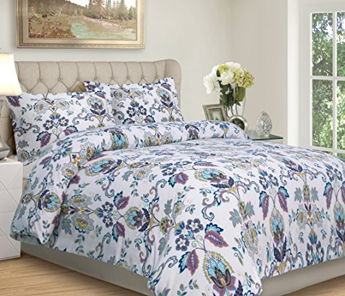 Tribeca Living Abstract Paisley Printed Flannel 200 GSM Luxury Duvet Cover Set, Queen, Multicolor ()