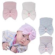 Ademoo Newborn Baby Girls Nursery Beanie Hospital Hat with Bow (White,Pink,Blue,White Pink.)
