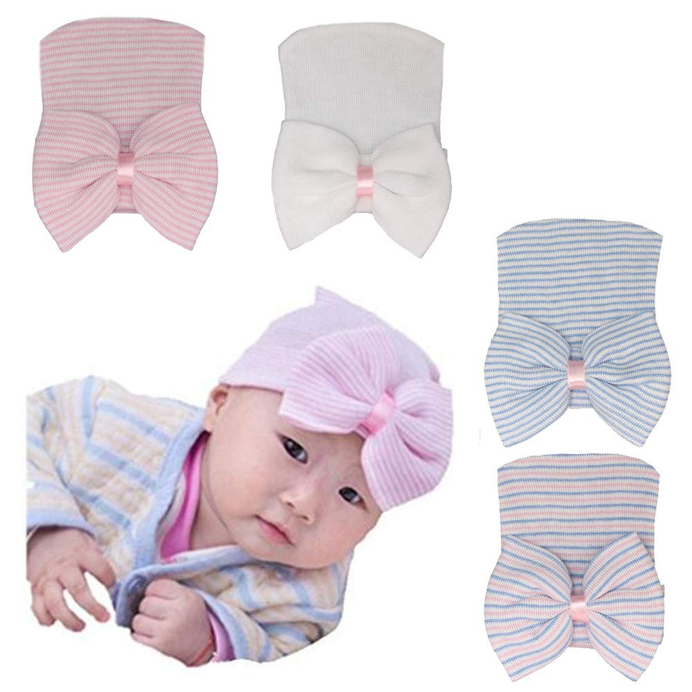 2037b14c39b Amazon.com  Ademoo Newborn Baby Girls Nursery Beanie Hospital Hat with Bow  (3 Pack)  Baby