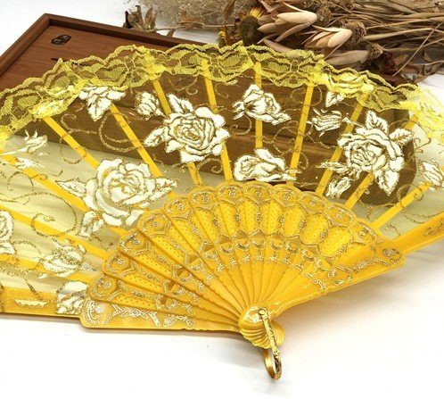 Yellow Lace Rose Flower Embroidered Flower Floral Fabric Lace Trim Hand Fan Portable Dance Fan Party Favors by Hand Fan