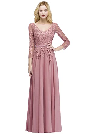 91d75b8b693 MisShow Women s Long Chiffon Lace Applique Evening Party Dresses Nude Pink  US2
