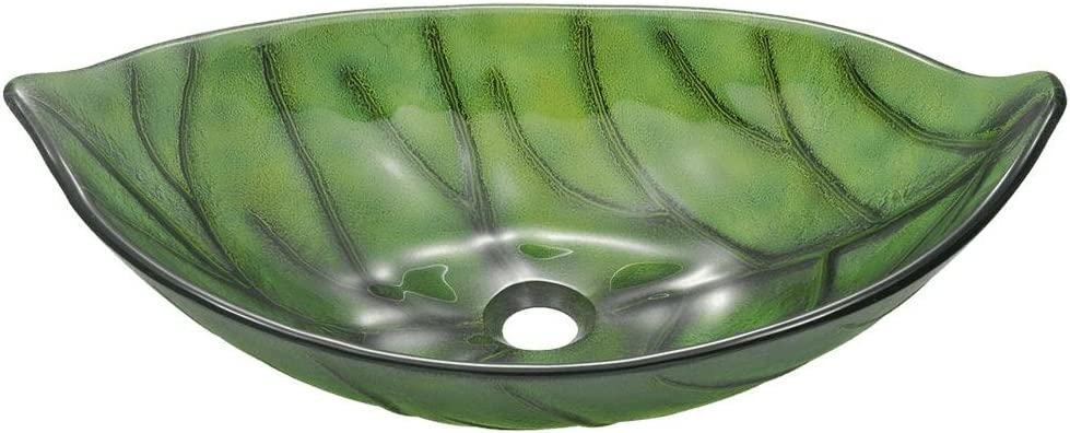 609 Green Coloured Glass Leaf Vessel Sink