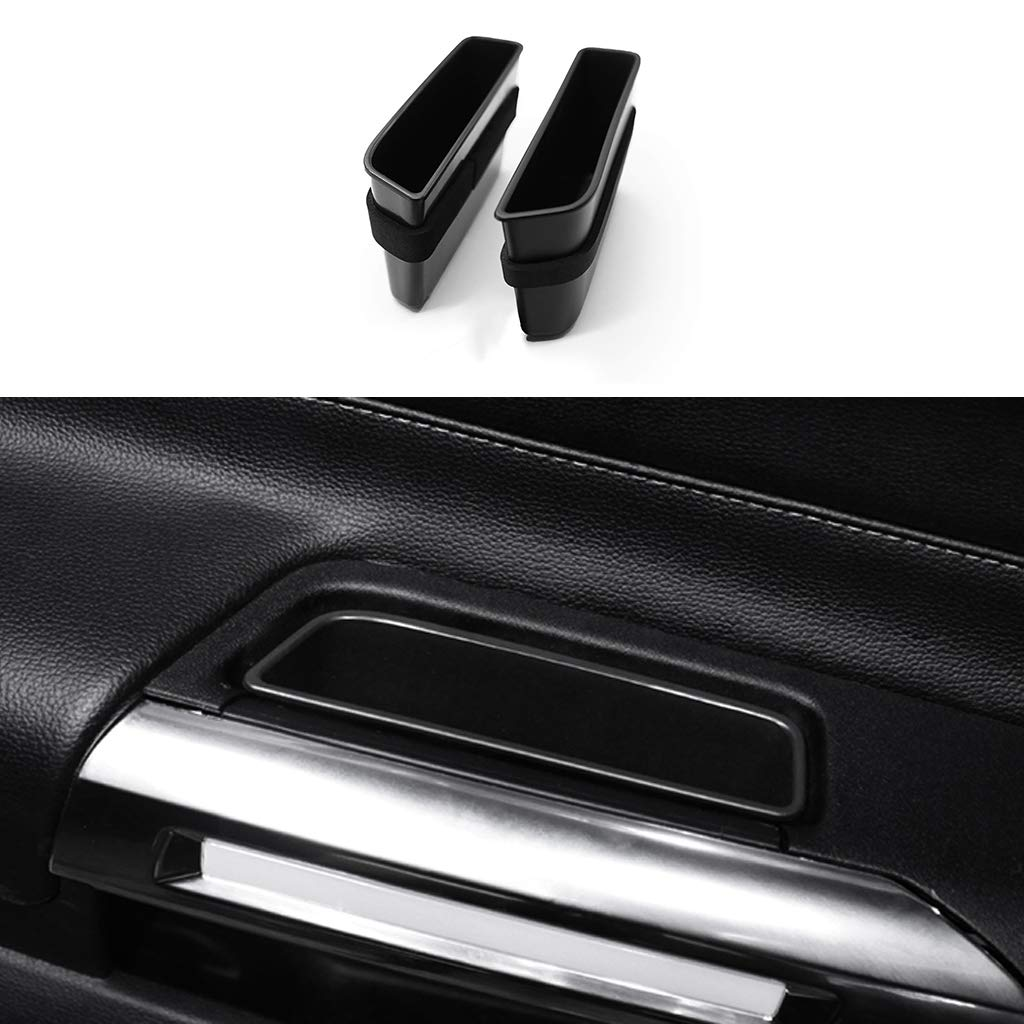 TopDall Front Door Side Storage Box Handle Pocket Armrest Phone Container for Ford Mustang 2015-2019 (2 PCS)