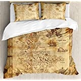 Island Map 4 Piece Bedding Set Queen Size, Super Detailed Treasure Map Grungy Rustic Pirates Gold Secret Sea History Theme, 4 Pcs Duvet Cover Set Comforter Cover Bedspread with 2 Pillow Cases