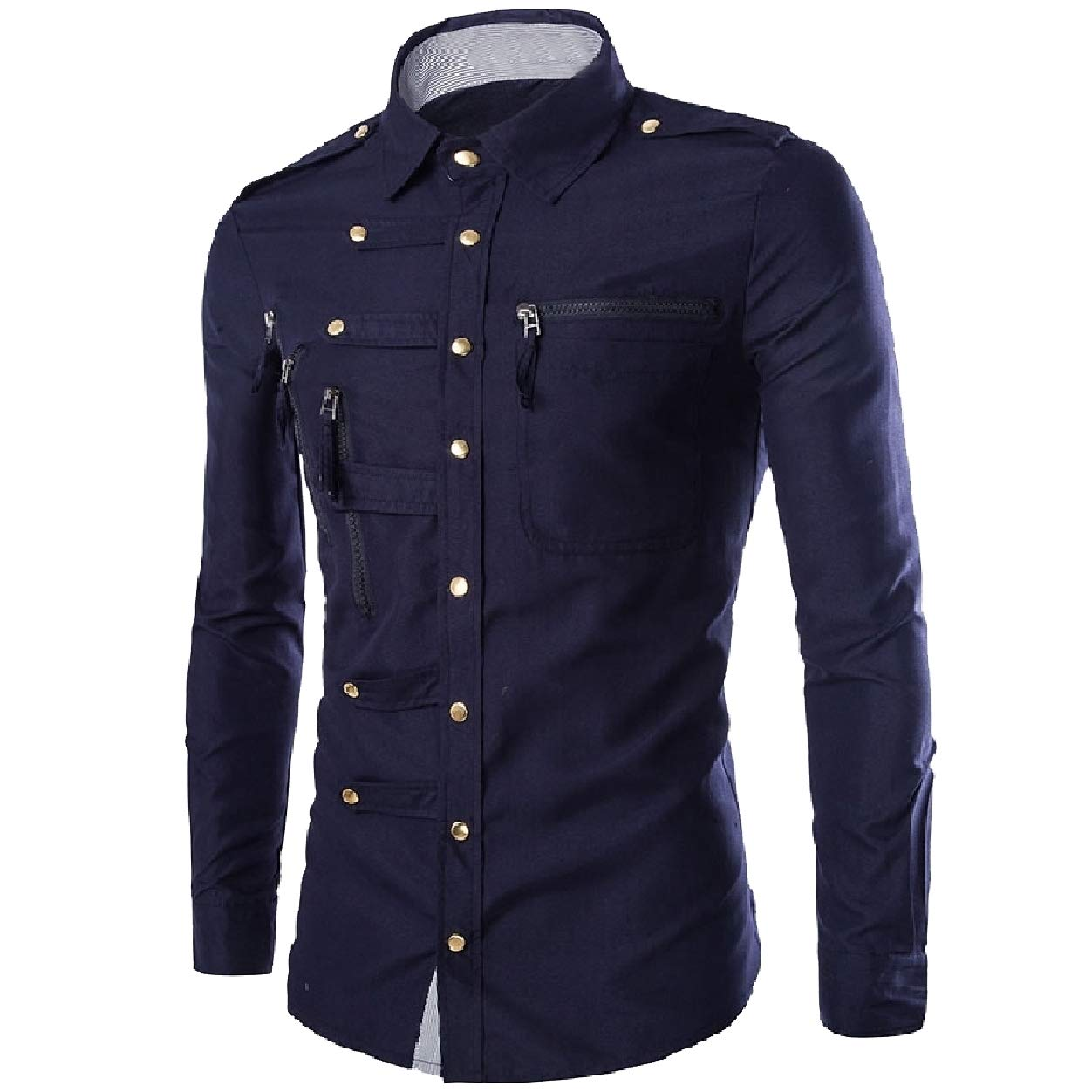 Abetteric Mens with Zips Slim Fit Button Down Long Sleeve Patchwork Shirts