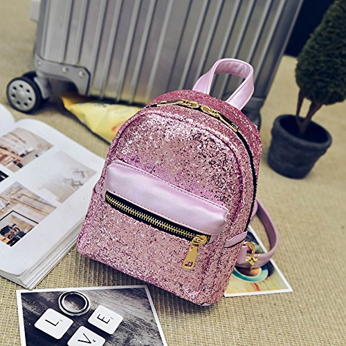 Small Schoolbags Pink Prosperveil Sequins Bling Fashion Leather PU Mini Women Backpack Bag qOqw16p
