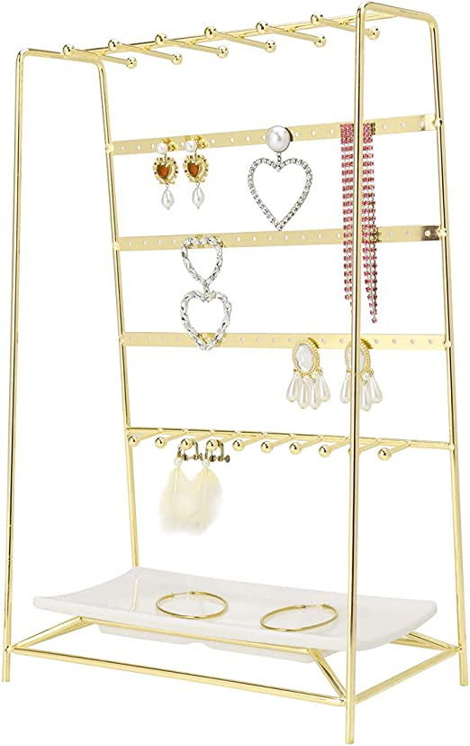 Amazon Com Morigem Jewelry Organizer 5 Tier Jewelry Stand Decorative Jewelry Holder Display With White Tray For Necklaces Bracelets Earrings Rings Gold Home Kitchen