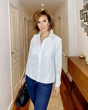 The Drop Camisa para Mujer Abotonada de Puño Doble, Blanco, por @sabthefrenchway