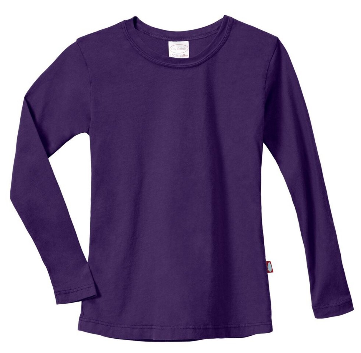 City Threads Girls Long Sleeve Tee Sensory Friendly for Sensitive Skin SPD - School Base Layer Fall and Winter, Purple, 5