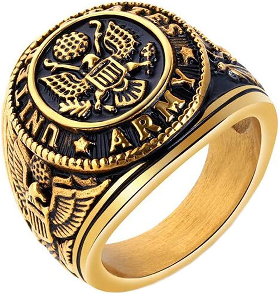 PAMTIER Men's Stainless Steel US Army Vintage Eagle Ring Cool Biker Jewelry Silver Gold