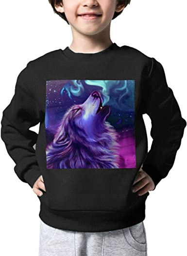 Polar Wolf Roar Kids Pullover Sweater Warm Crew Neck Knitted Sweater for 2-6T