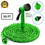 Expandable Garden Hose 50ft Lightweight Flexible Water Hose With 7 Adjustable Modes Spray Gun Water Nozzle Sprayer For Cleaning Car Watering plants and Shower Pets