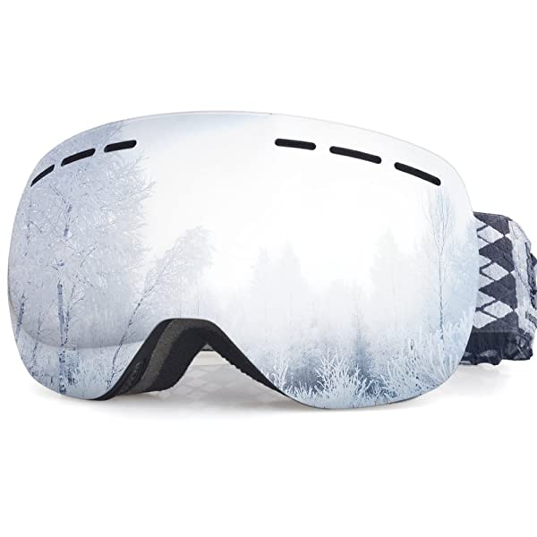 Snowledge Ski Snow Goggles - Frameless Dual Lens Snowboard Goggles for Men,Women