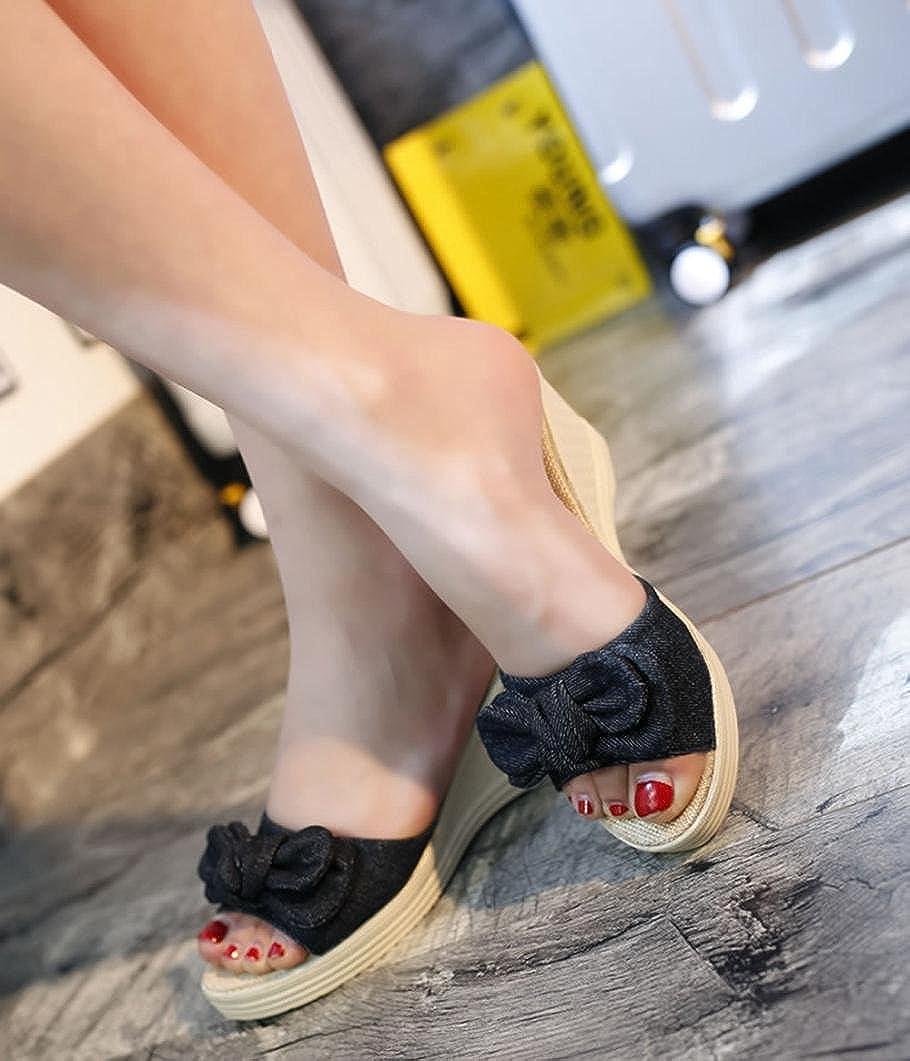 Tsmile Women Sandals Ladies Summer Bow Platform Waterproof Sandals Wedge Fashion Open Toe Slippers