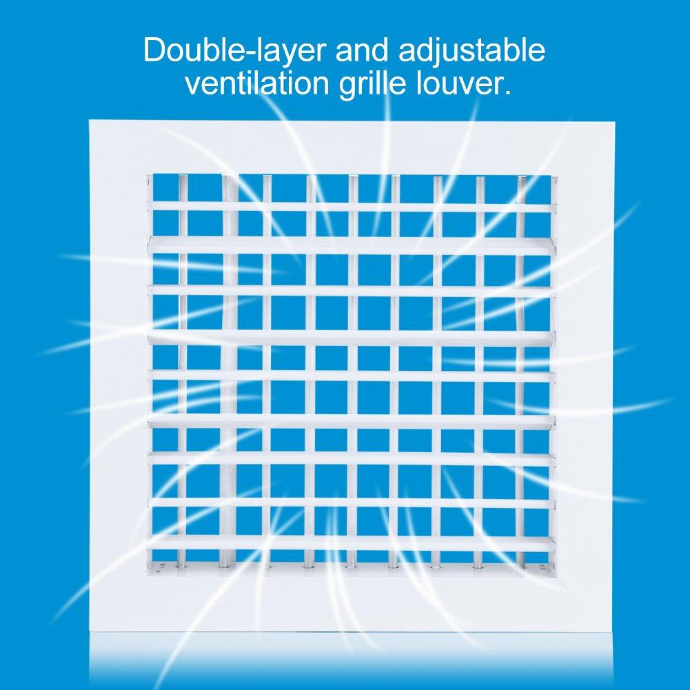 Fdit Grille de Ventilation dair Alliage Aluminium Double Couverture r/églable Louvre carr/ée Blanc 30 30 CM