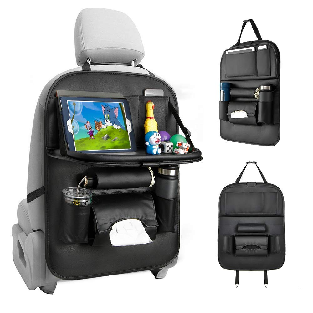 Tsumbay Car Seat Organizer, Car Organizer Back Seat Protector Kick Mats for Kids PU Leather Car Storage Organizer with Foldable Table Tray, Tablet Holder, Tissue Box, Multi Pockets (Black 1 Pack)