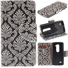 LG Leon Case,LG Tribute 2 Case,LG Risio Case,LG Sunset Case,Bat King LG Leon LTE Leather Magnet Slim Flip Kickstand Case Cover(LG Power,LG Destiny, LG C40, LG L22C, LG L21G)[Black Datura]
