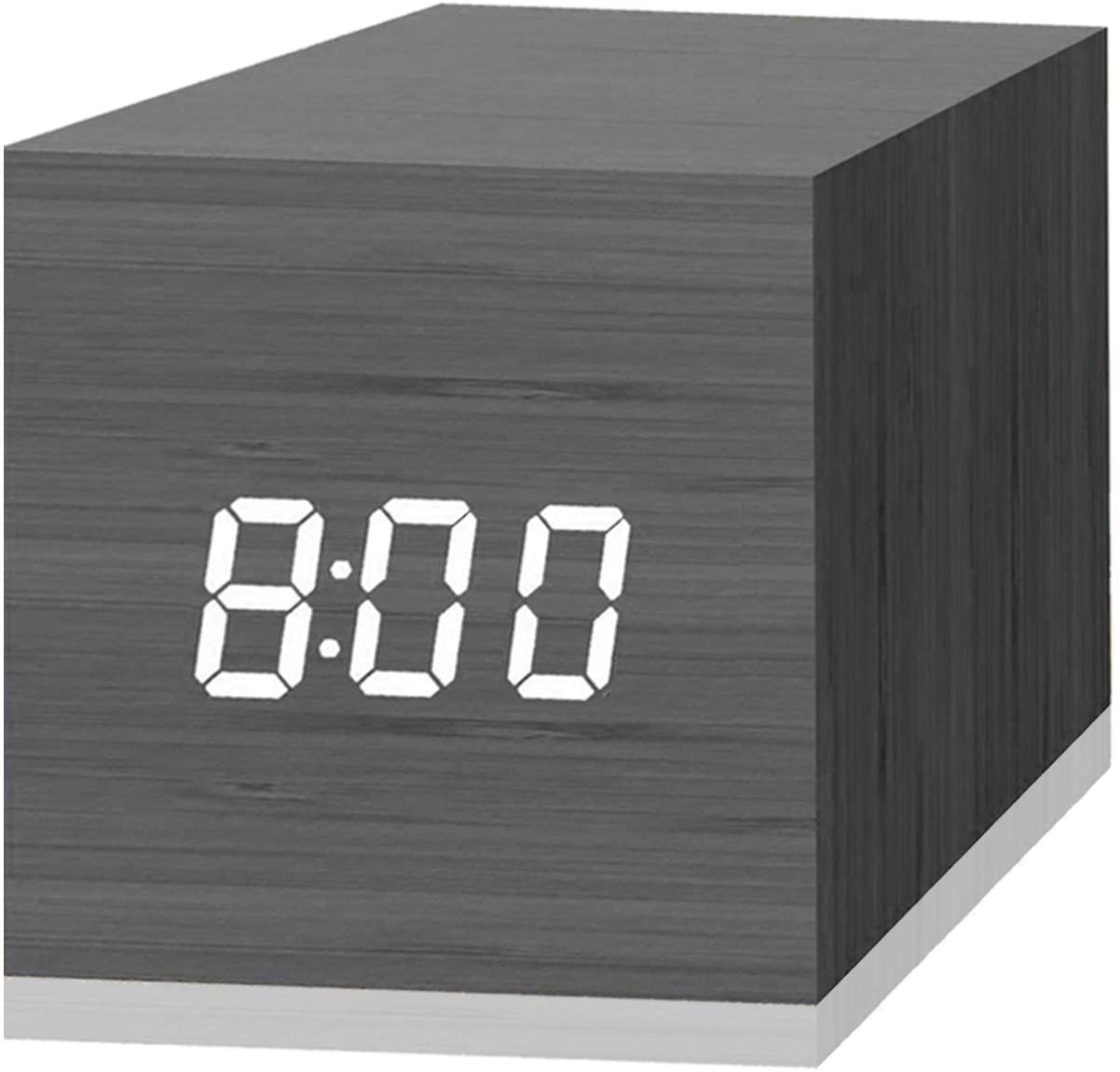 Digital Alarm Clock With Wooden Electronic Led Time Display 3 Dual Plus Alarm 2 5 Inch Cubic Small Mini Wood Made Electric Clocks For Bedroom Bedside Desk Black Home Audio Theater