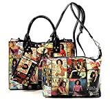 Glossy Magazine Cover Collage 3-in-1 Shoulder Bag Hobo Michelle Obama Handbag (3-Mulit)
