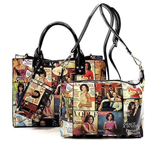 Hobo Patent Large Leather (Glossy Magazine Cover Collage 3-in-1 Shoulder Bag Hobo Michelle Obama Handbag (3-Mulit))