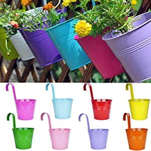 "LOVOUS 6.1"" x 4.5"" x 5.7"" Large Iron Hanging Planters Multicolor Flower Pots Balcony Garden Railing Planter, Fence Hanging Metal Bucket Plants Holders Set for Indoor and Outdoor, 8PCS"