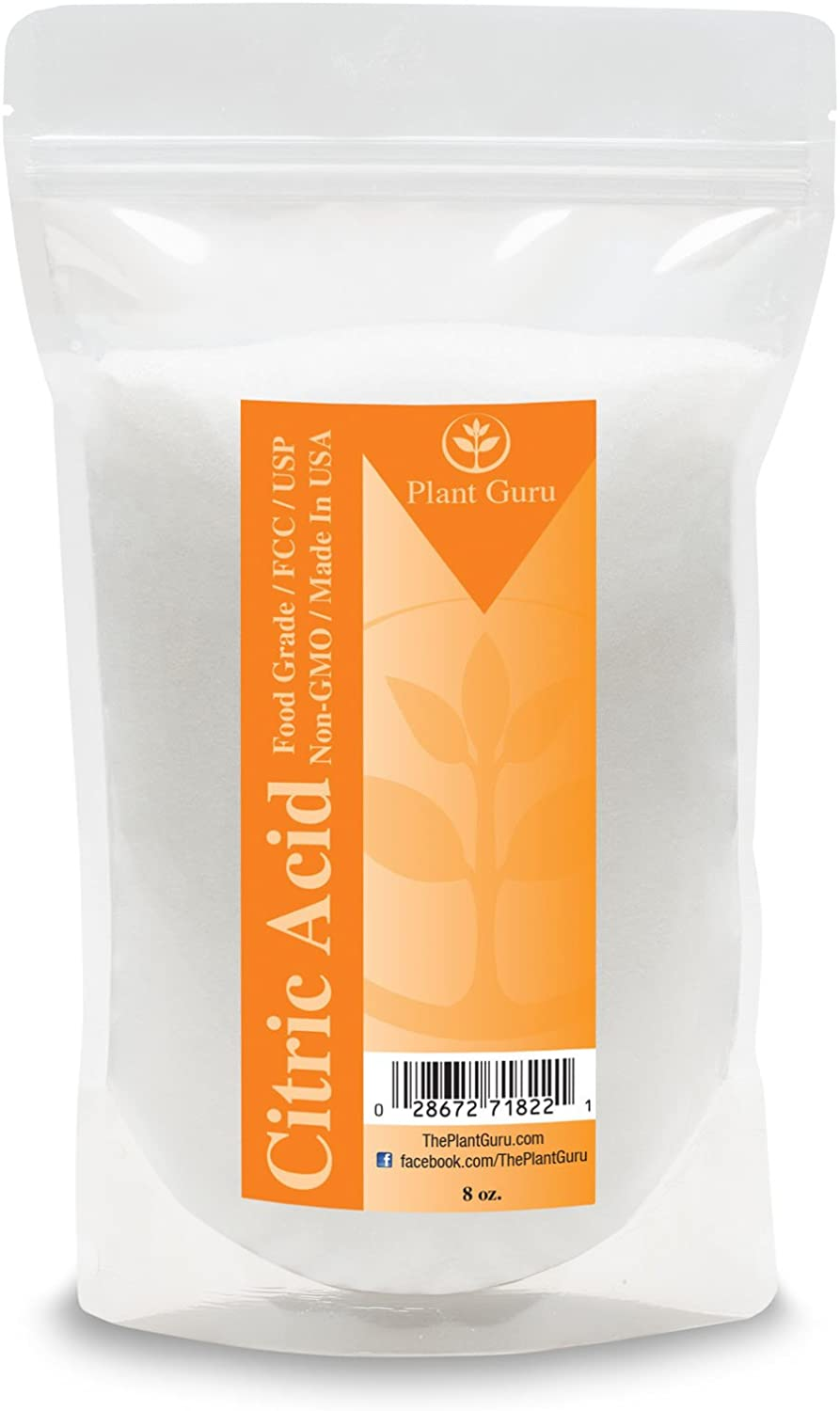 Citric Acid 8 oz. 100% Pure Food Grade, Kosher, Non-GMO, for Cooking, Baking, Cleaning, Bath Bomb and Soap Making.