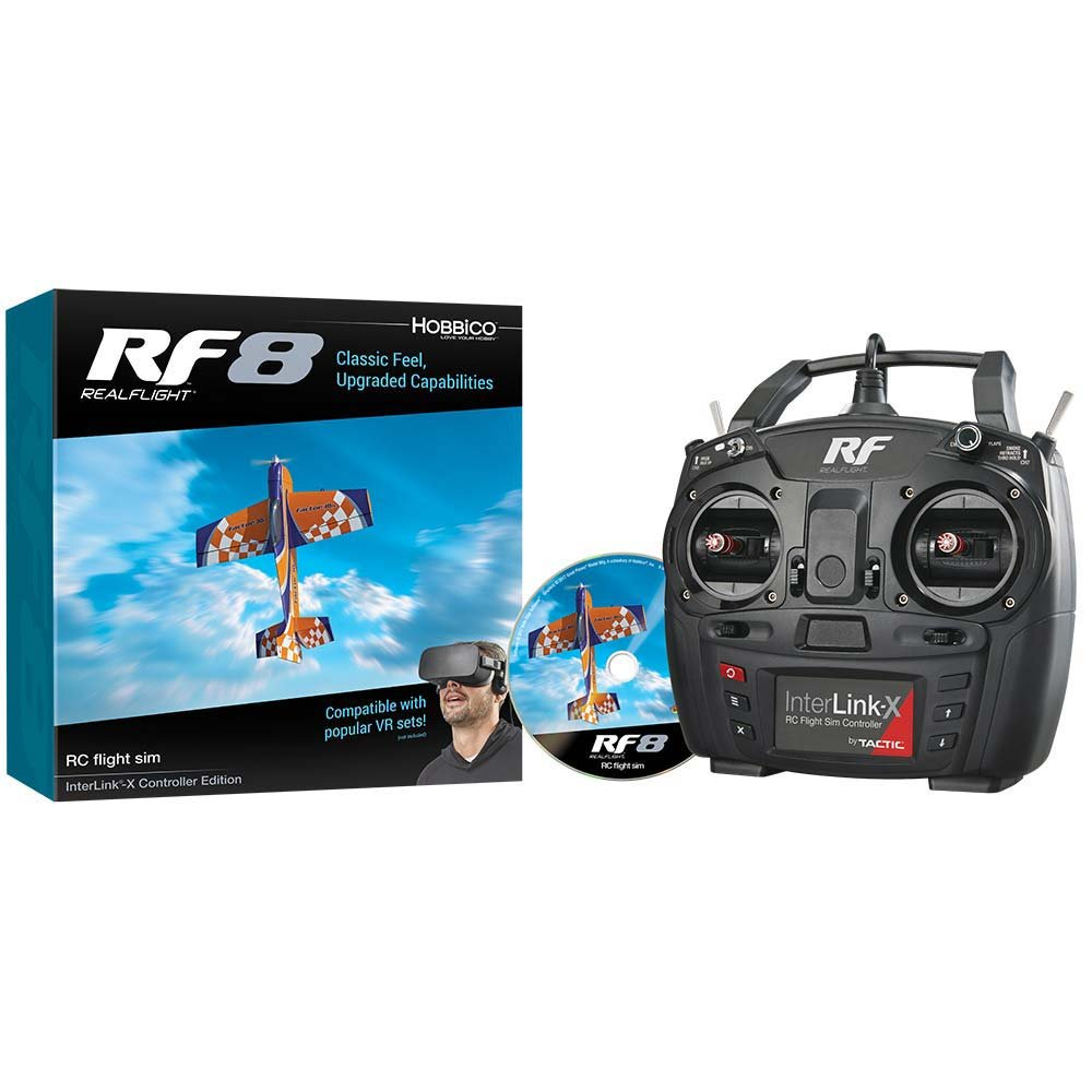 Great Planes RealFlight RF-8 RC Radio Control Flight Simulator Software DVD with Interlink-X Transmitter Mode 2