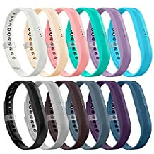 AIUNIT Fitbit Flex 2 Band, Fitbit Flex 2 Accessories Replacement Band Black Large Adjustable Sport Fitness Wristband with Fastener Clasp for Fitbit Flex 2 Girls Boys Kids
