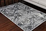 Generations 100% Olefin Contemporary Grey Silver White Modern Anitique Large Trellis Area Olefin Rug Rugs 8058silver 5'2 x 7'3 Review