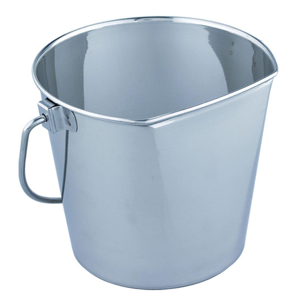 QT Dog Flat Sided Stainless Steel Bucket, 6 quart