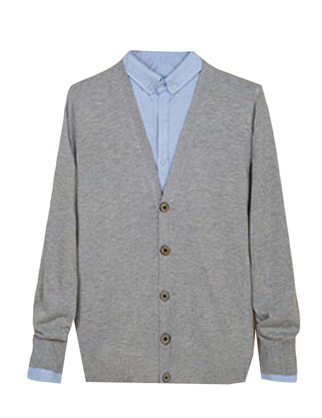 MLG Men Long Sleeve Casual Button Down V-Neck Cardigan Sweater 1 XXL