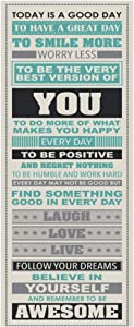 "WLBON Be Awesome Inspirational Motivational Happiness Quotes Wall Decorative Poster Print for Home Office Decor 12"" x 36"" with Tube"