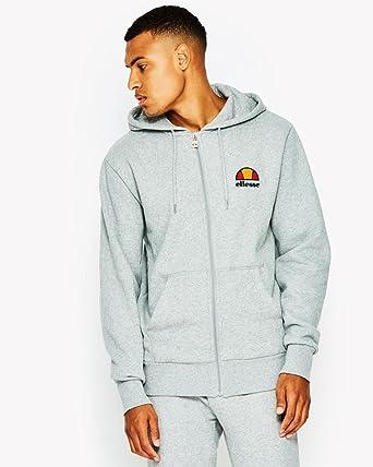 ellesse Mens Cotton Zip Up Miletto Hooded Sweatshirt Top Black Blue Grey Hoodie