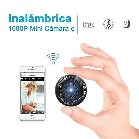 Cámara Inalámbrica Oculta de Vigilancia con Resolución 1080P. Mini WiFi Cámara Espía con Grabación de Video Alerta de Detección de Movimiento, Visión ...