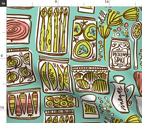 Spoonflower mod Pickled Vegetables Fabric - Vintage Mod Kitsch Kitchen Pickles Asparagus Carrots Retro Pickled Cucumbers Jars Kitchen by Cynthiafrenette Printed on Fleece Fabric by The Yard
