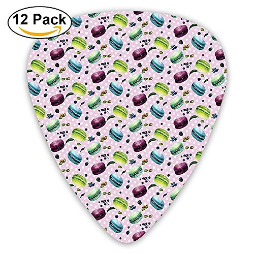 Fresh Blueberries Pistachios And French Macarons In Watercolors Polka Dot Guitar Picks 12/Pack Set