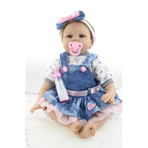 Nicery Reborn Baby Doll Renacer Bebé la Muñeca Vinil Simulación Silicona Suave 22 pulgadas 55cm Boca Magnética Natural Niña Niño Juguete Corazón de la flor azul