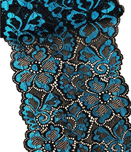 5 Yards Metallic Floral Lace Ribbon Stretch Tulle Lace Trim Elastic Nigerian African Fabric Width 7 Inch for DIY Craft Jewelry Making Clothes Accessories Gift Wrapping Wedding Party Decor (SkyBlue)