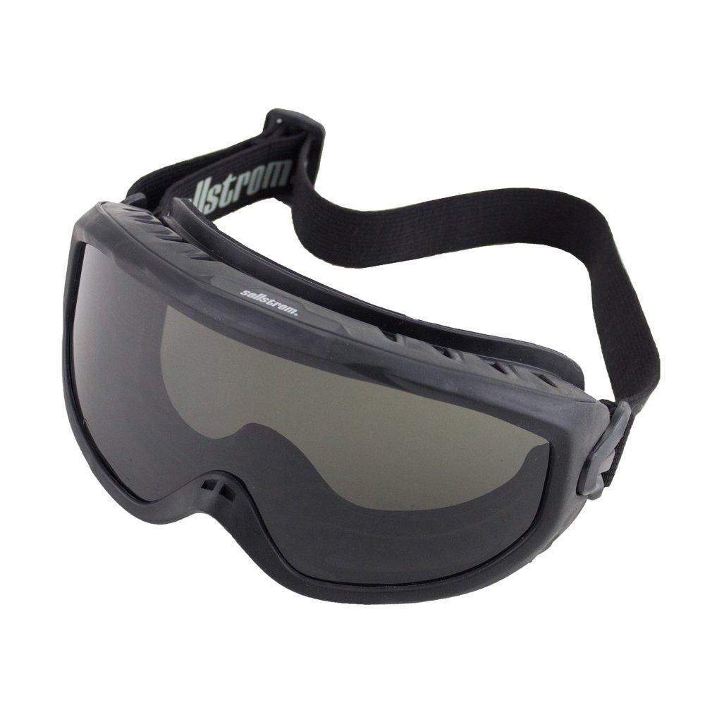Sellstrom Comfortable, Non-Vented, Wildland Fire Goggle, Scratch-Resistant, Anti-Fog Coating, Smoke Lens, Adjustable FR Strap, Black Frame, S80225