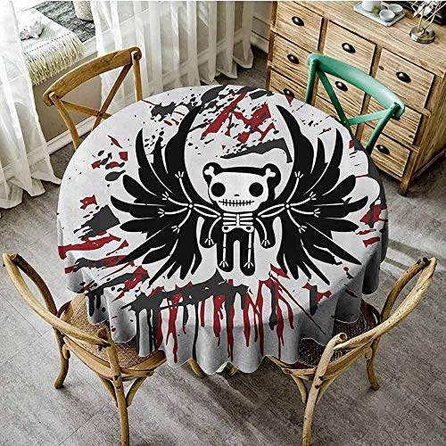 SEMZUXCVO Home Round Tablecloth Halloween Decorative Table Teddy Bones with Skull Face and Wings Dead Humor Funny Comic Terror Design D55 Pearl Black Ruby