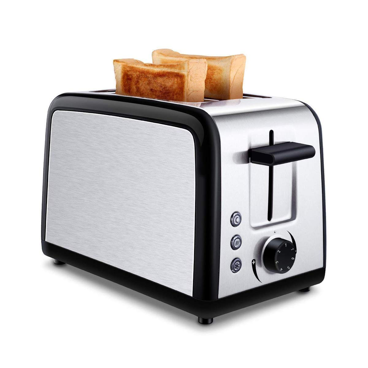 ToBox CB-ST002 CT-ST002 2 Slice Toasters with 2 Extra-Wide Slots, Warming Rack, Defrost, Reheat and Cancel Buttons-Brushed Stainless Steel, Silver