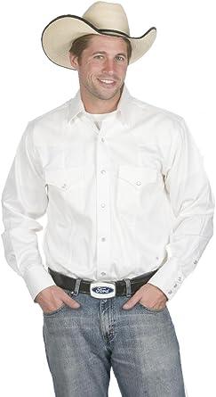 Sunrise Outlet Mens Button Down 100% Cotton Western Cowboy Shirt-White-Large: Amazon.es: Ropa y accesorios