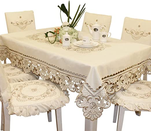 Amazon Com Brown Flower Embroidered Lace Cream Tablecloth Square