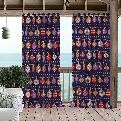 (Patio Waterproof Curtain Christmas Ornaments Pointy Lines Cartoon Style Xmas Motifs on Purple Jolly Winter Multicolor Porch Grommet Printed Curtains 72 by 72 inch)