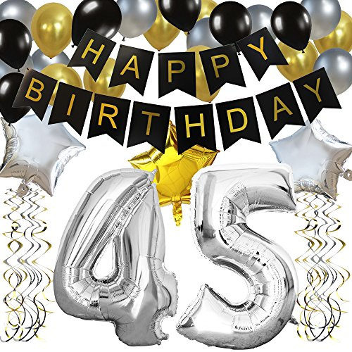 KUNGYO Classy 45TH Birthday Party Decorations Kit-Black Happy Brithday Banner,Silver 45 Mylar Foil Balloon, Star, Latex Balloon,Hanging Swirls, Perfect 45 Years Old Party Supplies (Birthday Balloon Silver)